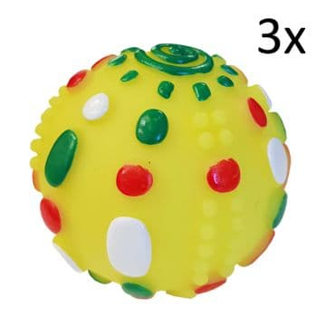3 x SQUEAKY DOG BALL TOYS pet cat puppy toys training play animal balls toy yel